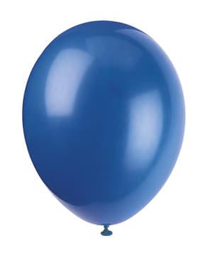 Sett med 10 dyp blå ballonger - Grunnleggende Farger Kolleksjon