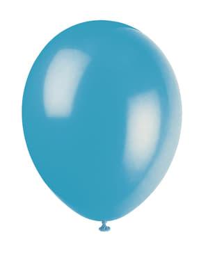 Zestaw 10 turkusowych balonów - Linia kolorów podstawowych