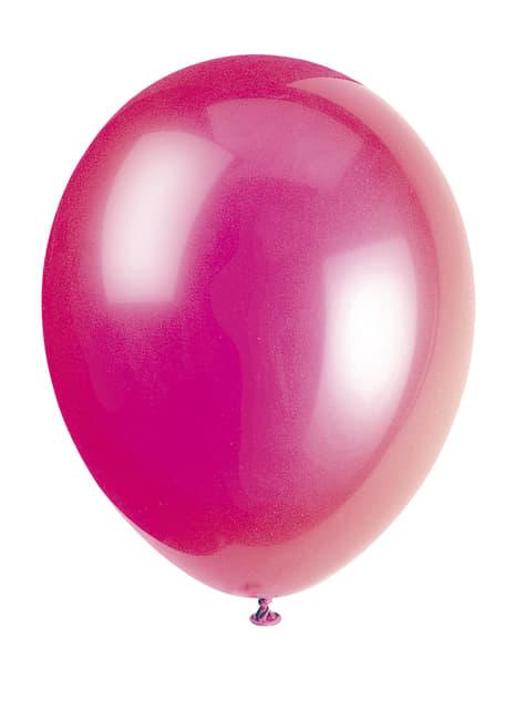 Zestaw 10 balonów w kolorze fuksji - Linia kolorów podstawowych