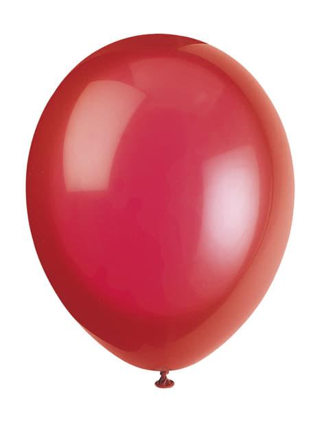 Conjunto de 10 balões cor vermelha - Linha Cores Básicas