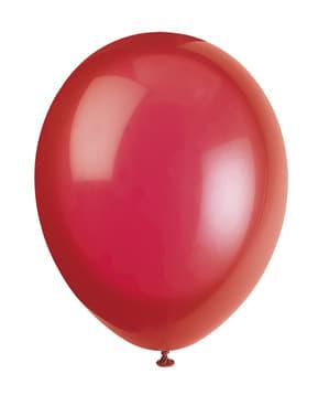 10 kpl punaista ilmapalloa - Perusvärilinja