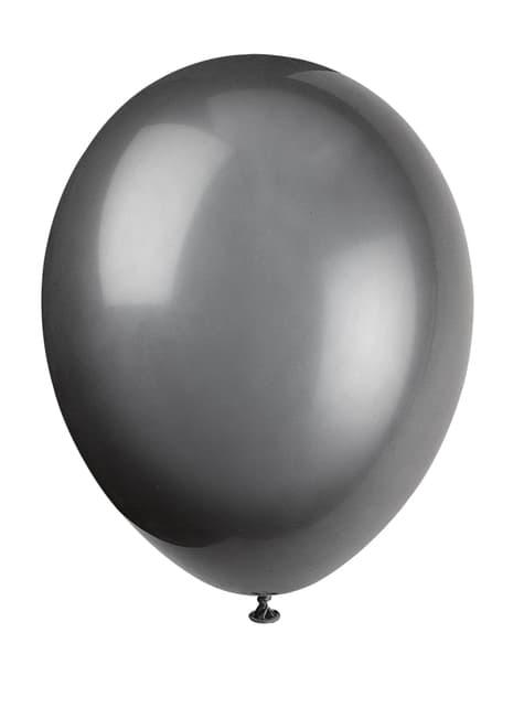 Set of 10 black balloons - Basic Colours Line