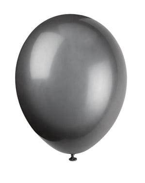 Sett med 10 svarte ballonger - Grunnleggende Farger Kolleksjon
