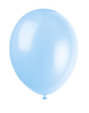 Sett med 10 himmelblå ballonger - Grunnleggende Farger Kolleksjon