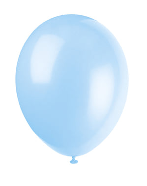 Sæt af 10 himmel blå ballonner - Basale farver linje