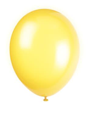 Sett med 10 gule ballonger - Grunnleggende Farger Kolleksjon