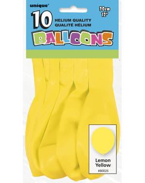 10 globos color amarillo (30 cm) - Línea Colores Básicos