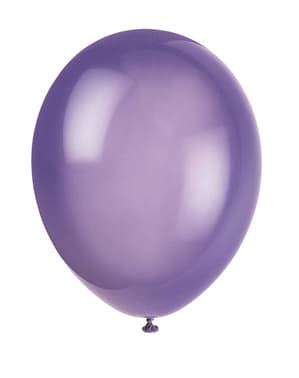 Sett med 10 lilla ballonger - Grunnleggende Farger Kolleksjon