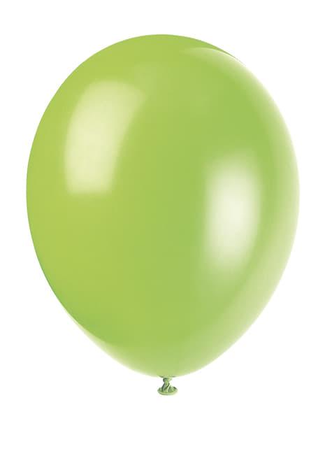 10 globos verde neón (30 cm) - Línea Colores Básicos