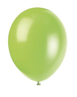 Sett med 10 neon grønne ballonger - Grunnleggende Farger Kolleksjon