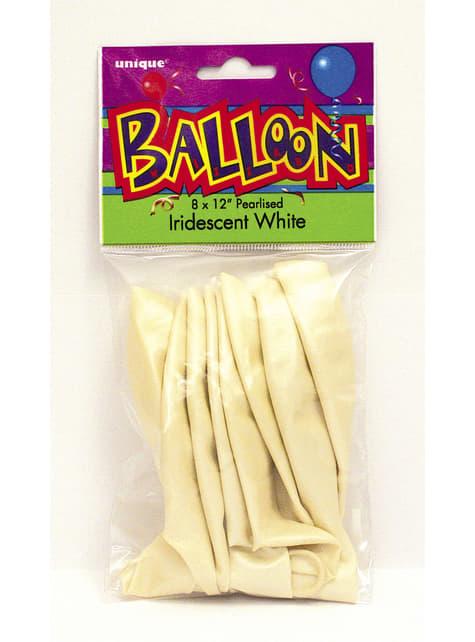 8 globos blanco perlado (30 cm) - Línea Colores Básicos - para tus fiestas