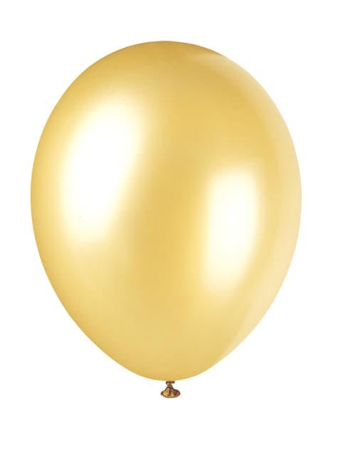 8 ballons dorés métallisés - Gamme couleur unie