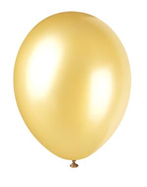 8 kpl metallinkultaista ilmapalloa - Perusvärilinja