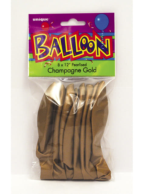 8 globos dorados metalizados (30 cm) - Línea Colores Básicos - para tus fiestas