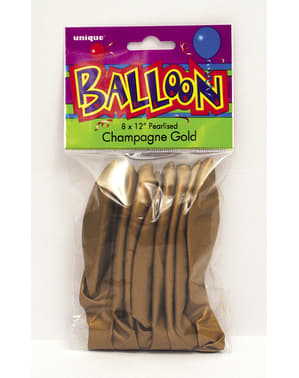 8 globos dorados metalizados (30 cm) - Línea Colores Básicos