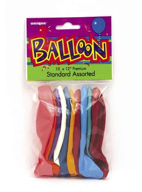 10 ballons différentes couleurs - Gamme couleur unie