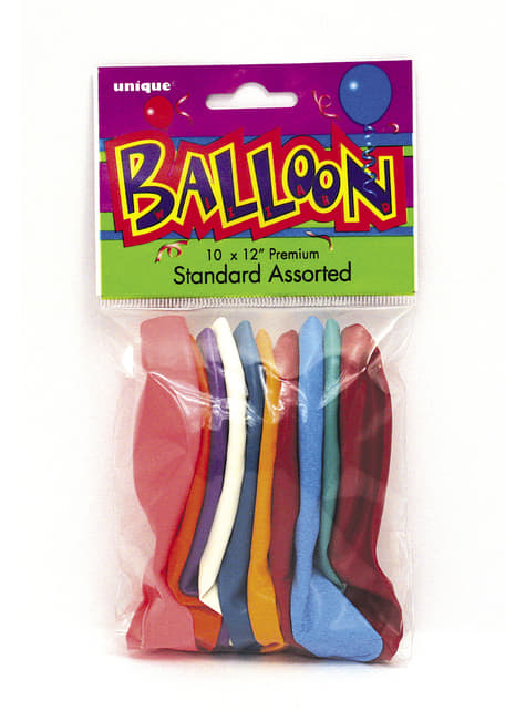 Set de 10 globos colores variados - Línea Colores Básicos