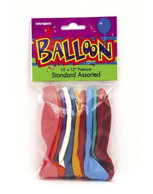 Zestaw 10 różnokolorowych balonów - Linia kolorów podstawowych