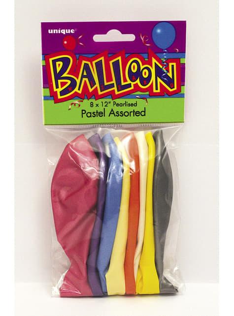 10 globos colores pastel variados (30 cm) - Línea Colores Básicos - decoración de fiesta
