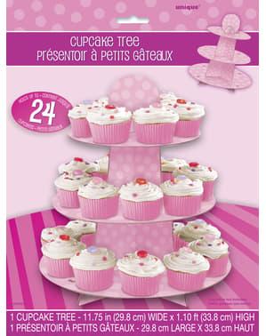 Présentoir cupcakes grand modèle rose