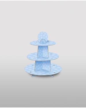 Grote blauwe cupcake etagère
