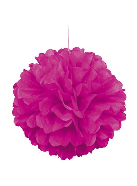 Pompom decorativo cor-de-rosa néon