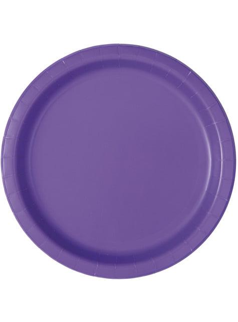 Zestaw 16 neonowo-fioletowych talerzy - Linia kolorów podstawowych
