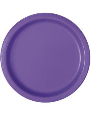 16 platos morado neón (23 cm) - Línea Colores Básicos