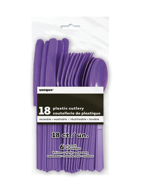Set de cubiertos de plástico morado neón - Línea Colores Básicos
