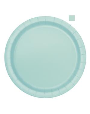 20 miętowo-zielone talerze deserowe