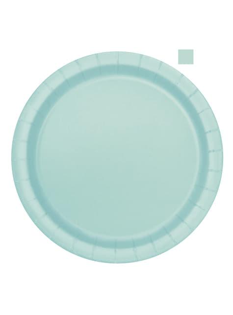 16 platos verde menta (23 cm) - Línea Colores Básicos