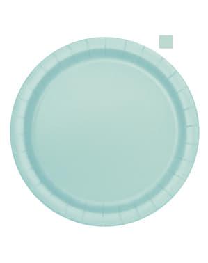 Zestaw 16 miętowo-zielonych talerzy - Linia kolorów podstawowych