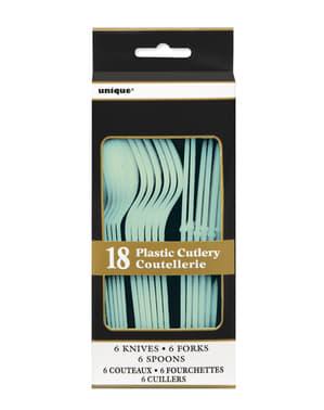Mintgroene plastic bestekset - Basis Kleuren Lijn