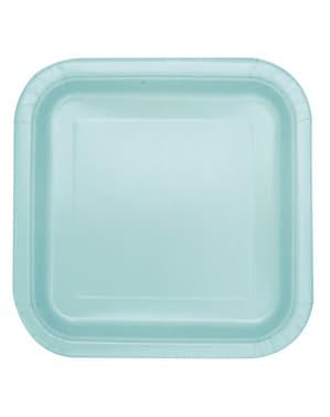 16 miętowo-zielone kwadratowe talerze deserowe - Linia kolorów podstawowych