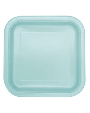16 square mint green dessert plate (18 cm) - Basic Line Colours