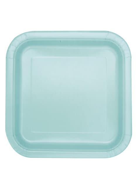 Zestaw 14 miętowo-zielonych kwadratowych talerzy - Linia kolorów podstawowych