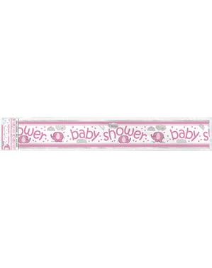 Рожевий банер Baby Shower - Umbrellaphants Pink
