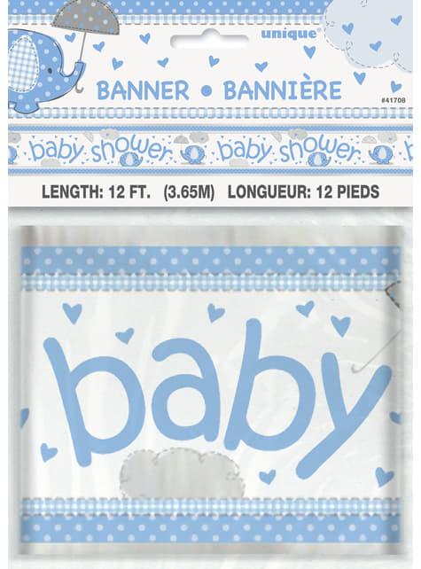 Pancarta Baby Shower azul - Umbrellaphants Blue - para tus fiestas