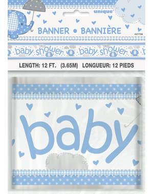 Blå Baby Shower banner - Umbrellaphants Blå