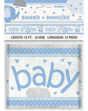 Blå baby shower banner- Umbrellaphants Blue