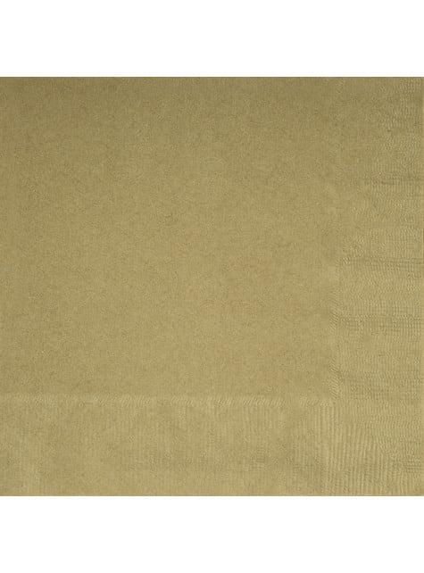 20 grandes Serviettes en papier dorées - Gamme couleur unie