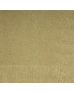 Sæt af 20 store guld servietter - Basale farver linje