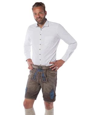 Bawarskie spodnie Lederhose brązowo-niebieskie męskie