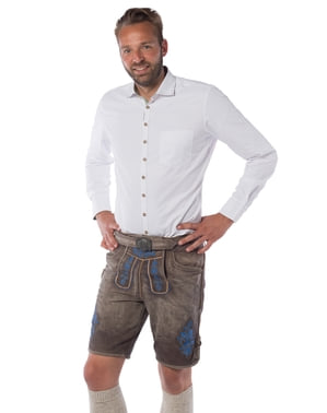 Deluxe brown and orange lederhosen for men
