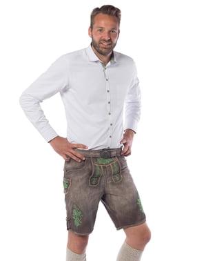 Deluxe brune og grønne lederhosen til mænd