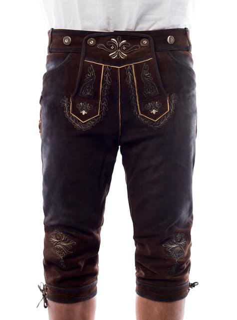 Bawarskie spodnie Lederhose brązowe deluxe męskie