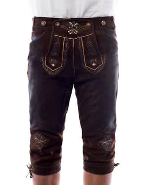 Pánské luxusní kožené kalhoty Starnberg hnědé