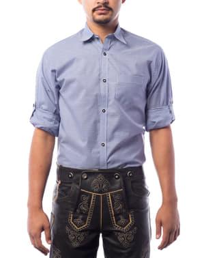 Trachtenhemd blau für Herren