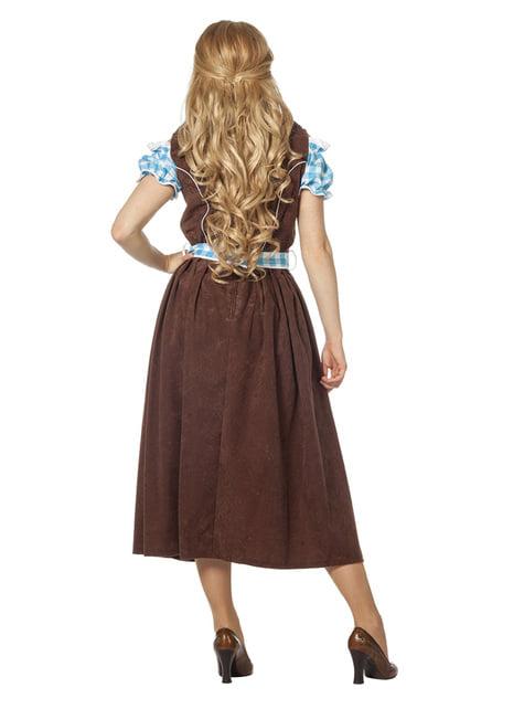Blåt Oktoberfest tyroler kostume til kvinder