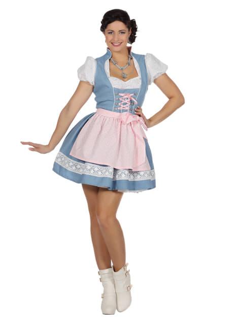 Dirndl de tirolesa azul Oktoberfest para mujer
